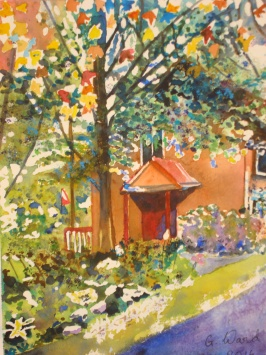 Watercolour of Main Lodge by Gina Ward